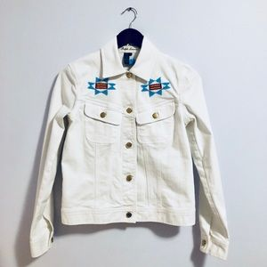 Ralph Lauren Aztec Beaded White Denim Jacket Size8